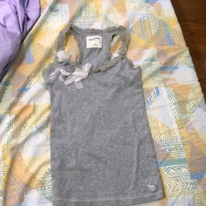 Grey Laced Cami With Ribbons